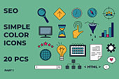 SEO icons set. Simple color icons for seo, business and social media marketing