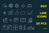 SEO icons set. Perfect line icons for seo, business and social media marketing