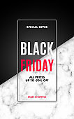 Black friday Sale poster with marble texture and text. Vertical vector design template for app, social media, flyers, brochures, etc.
