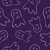 Halloween pattern. Vector seamless background with cute funny spooky ghosts
