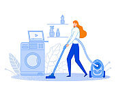 The woman cleans at home. Housewife is vacuuming. Uses the video. Keeps the house clean and tidy. Distribution of family responsibilities. Flat cartoon Vector Illustration. Can be poster or banner.