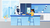 Robot assistant cooking in the kitchen for a girl. Futuristic kitchen in a smart home. Futuristic technology in everyday life concept. Artificial intelligence of child rearing Flat Vector Illustration
