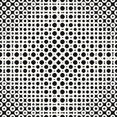 Vector geometric monochrome halftone seamless pattern with circles, rings, dots