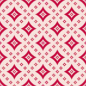 Vector geometric pattern with diamond shapes, rhombuses. Pink and red colors