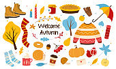 Bundle of autumn trendy elements. cute doodle sweater, tea, honey, fallen leaves and more hand drawn objects. Autumn vibes. Autumn season icons collection. Colorful Cartoon Flat Vector Illustration