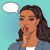 Pop art african american business woman in suit holding finger on lips for stop talking, keeping top secret, vector illustration in retro comic style