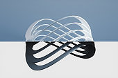 Curve loop rings on the two-tone background, 3d rendering.