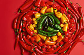 Selection of green yellow red chili pepper arranged in circle. Hot ingredient for preparing spicy dish. Chilli in different variations. Top view. Vegetables collected from garden ready to sale
