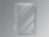 Realistic Glass plate of rectangular shape on transparent background. Acrylic and glass texture with glares and light. Realistic glass window or frame. Vector Illustration 10 EPS Isolated