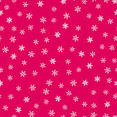 Snowflakes seamless pattern. Christmas and New Year texture. Red and white color