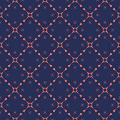 Abstract geometric floral vector seamless pattern in dark blue and coral color