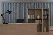 Private work place with wooden desk and decorative lamp, 3d rendering.
