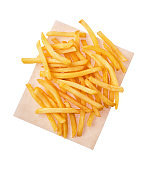 French fries on craft paper isolated on white background, top view
