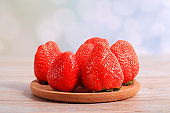 The fresh strawberries