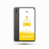 Online Taxi mobile app with icon car in smartphone. Flat vector illustration EPS10