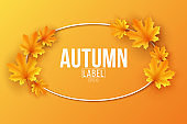 Autumn seasonal label with maple leaves on orange background. Festive template for design your advertisement. Greeting card. Vector illustration.
