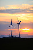 In the evening, the silhouette of wind turbines