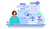 Online education vector concept with woman working at home office in internet.