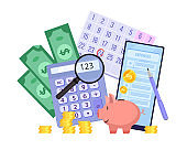 Family budget planning vector finance illustration with piggy bank, dollars, smartphone, calculator, magnifier.