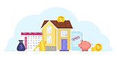 House mortgage cartoon vector illustration with building, calendar, piggy bank, money, contract.