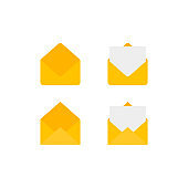 Email letter icon set. Modern vector illustrations. Contains such icons as inbox, receive, sent.
