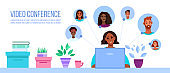 Video conference or call illustration with black working woman, laptop, diverse people avatars.