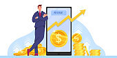 Income growth, return on investment or revenue increase vector illustration with millionaire, smartphone.