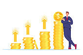 Revenue increase, money income growth or return on investment vector illustration with businessman, stacked golden coins.