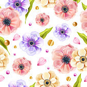 Floral vector spring seamless pattern with anemone flowers, green leaves, golden dots on white background.