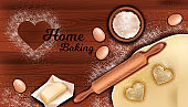 Home bakery concept with dough, rolling pin, flour, butter, egg on wooden table background.