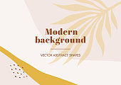 Fashion stylish templates with organic abstract shapes and line in nude pastel colors. Neutral background in minimalist style. Contemporary vector Illustration