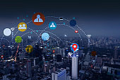 Network of business concept with graphic icon multichannel online