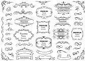 Calligraphic design elements . Decorative swirls or scrolls, vintage frames , flourishes, labels and dividers. Retro vector illustration.