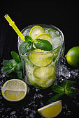 Refreshing summer alcoholic cocktail mojito with ice, fresh mint and lime. Copy Space.