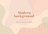 Modern  stylish template with organic abstract shapes in nude pastel colors.
