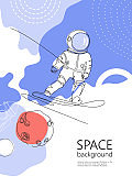 An astronaut is snowboarding among the galaxy.Vector illustration.