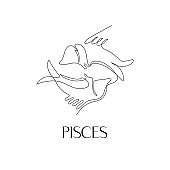 Zodiac sign Pisces. The symbol of the astrological horoscope.
