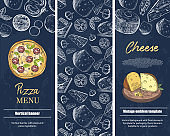 Vertical banners with the image of cheese and pizza. Vintage illustrations.