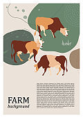 Sample brochure. Agricultural background. Cows silhouette made of multi-colored segments.