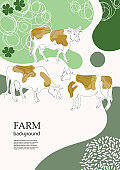 Cows are drawn in one line. Sample brochure. Agricultural background.
