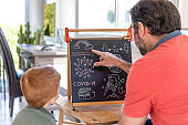 Father Teaching Redhead Son About Coronavirus and Covid-19