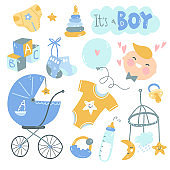 It's a boy doodle set. Blue and yellow baby care, feeding, clothing, toys, health care stuff, accessories.