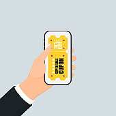 Smartphone in your hand concept. Coupon