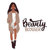 Stylish Beautiful girl in fashion clothes with bag. Fashion illustration.