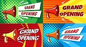 Opening megaphone invitation posters