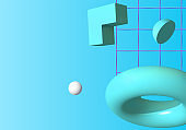 3D vector shapes or abstract design elements falling in trendy colorful surreal background