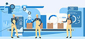 People working at factory illustration. Operational workers, conveyor belt, assembly line. Industry concept. Vector illustration for topics like production, machine, blue color