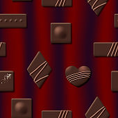 Valentines Day seamless pattern with chocolate sweet candy heart collection