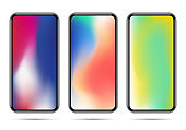 Set of new smartphone templates with colorful gradients