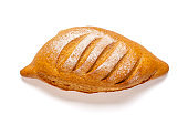 reshly baked sourdough bread on napkin from oven isolated on white background Top view Flat lay Homemade pastry